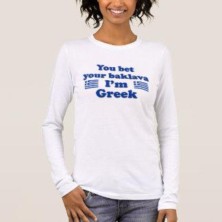 私によってがギリシャ語2であるあなたのバクラヴァを賭けます 長袖Tシャツ