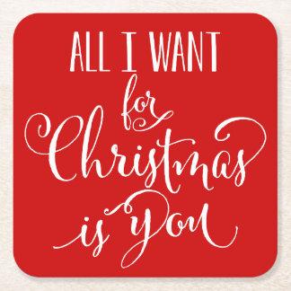 私によってがクリスマスのためにほしいすべてはです スクエアペーパーコースター