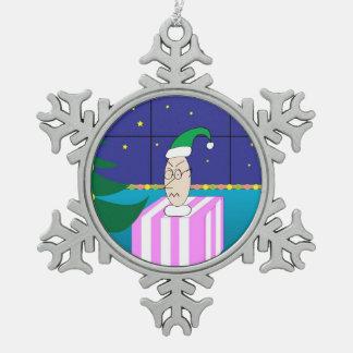 私によってがクリスマスのためにほしいすべてはです! スノーフレークピューターオーナメント
