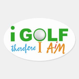 私によってはステッカーがゴルフをします 楕円形シール