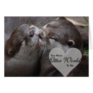 私にカワウソの世界をカワウソ愛接吻意味します グリーティングカード