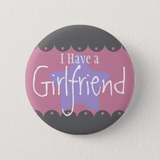 """""""私にガールフレンド""""が、2つの¼のインチの円形ボタンあります 缶バッジ"""
