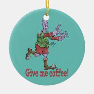 私にコーヒーを与えて下さい! 円形の陶磁器の装飾 セラミックオーナメント