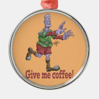 私にコーヒーを与えて下さい! 装飾のあたりで着色されて銀を着せて下さい メタルオーナメント