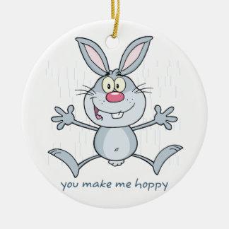 私にホップの豊富なバニーウサギをします 陶器製丸型オーナメント