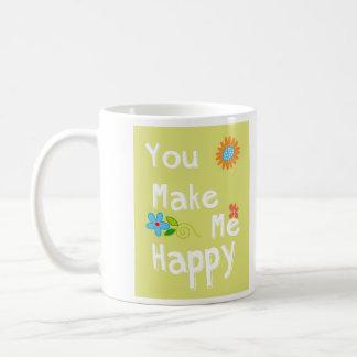 私に幸せなタイポグラフィ-ライムグリーン--をします コーヒーマグカップ