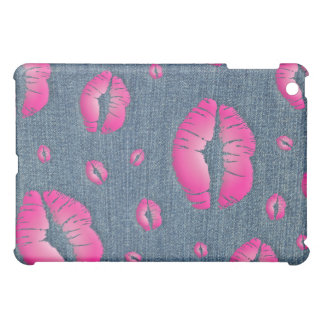 私に愛唇のiPadカバーピンクのデニムのブルー・ジーンズ接吻して下さい iPad Miniカバー