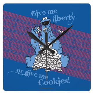 私に自由を与えますか、または私にクッキーを与えて下さい! スクエア壁時計