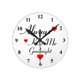 私にGOODNIGHTロマンチックな柱時計常に接吻して下さい ラウンド壁時計