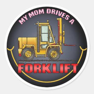 私のお母さんはフォークリフトの子供のステッカーを運転します ラウンドシール