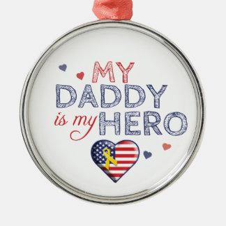 私のお父さんは私の英雄-米国-オーナメントです メタルオーナメント
