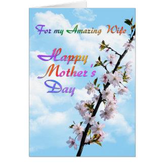 私のすばらしい妻の幸せな母の日のため カード