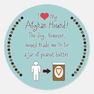 私のアフガンハウンドはピーナッツバターを愛します ラウンドシール