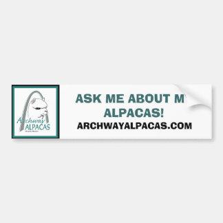 私のアルパカについて私に尋ねて下さい! 、ARCHWAYALPACAS.COM バンパーステッカー