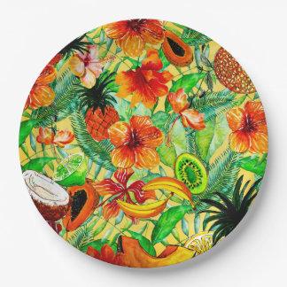 私のアロハトロピカル・フルーツおよびジャングルの花園 ペーパープレート