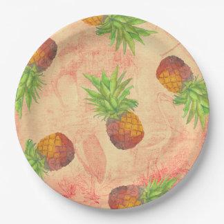 私のアロハ熱帯パイナップル花園 ペーパープレート