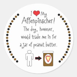 私のアーフェンピンシャーはピーナッツバターを愛します ラウンドシール