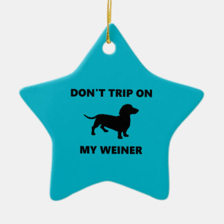 私のウィーナーのダックスフント犬でつまずかせないで下さい セラミックオーナメント