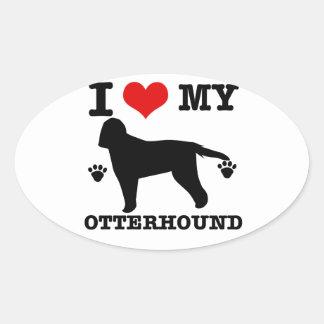 私のカワウソ猟犬を愛して下さい 楕円形シール
