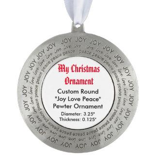 私のクリスマスのカスタムな喜び愛平和ピューターのオーナメント オーナメント