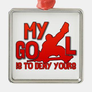 私のゴール、ホッケーのゴールキーパーのクリスマスのオーナメント メタルオーナメント