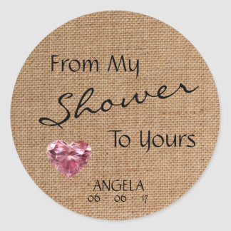 「私のシャワーからあなたのへの」バーラップのベビーシャワー ラウンドシール
