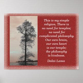 私のシンプルな宗教-ダライ・ラマの引用文-芸術のプリント ポスター