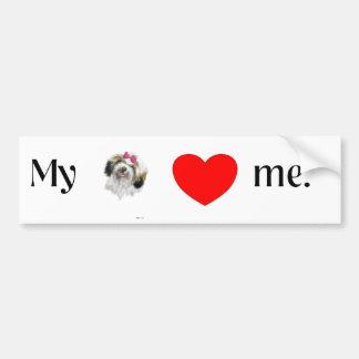 私のシーズー(犬)のtzuは私を愛します バンパーステッカー