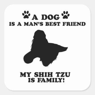 私のシーズー(犬)のtzu家族、あなたの犬ちょうど親友 スクエアシール