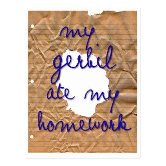 私のスナネズミは私の宿題を食べました ポストカード
