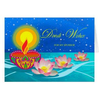 私のスポンサーのためのDiwaliの願い、Diyaランプ、はす カード
