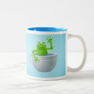私のティーカップのおもしろいな予想外のカエル ツートーンマグカップ