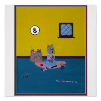 私のテディのケアーン・テリア完全なポスターを愛して下さい ポスター