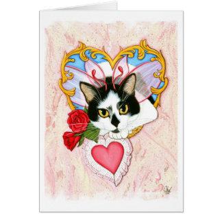 私のネコ科のバレンタイン妖精猫の挨拶状 カード