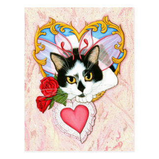 私のネコ科のバレンタイン猫の郵便はがき ポストカード