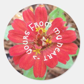 私のハートからあなたのへの赤い花のステッカー ラウンドシール