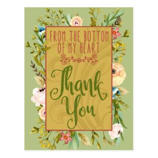 私のハートの花柄の底は郵便はがき感謝していしています ポストカード