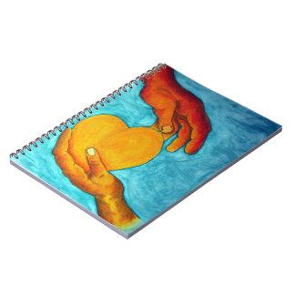 私のハートはあなたの手の~の元の絵画にあります ノートブック