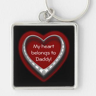 私のハートはお父さんの銀Keychainに属します キーホルダー