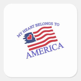 私のハートはアメリカに属します スクエアシール