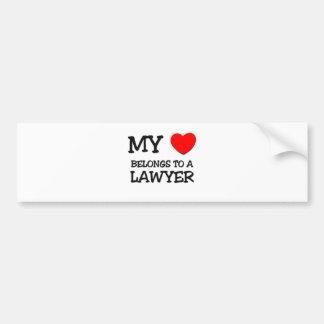私のハートは弁護士に属します バンパーステッカー