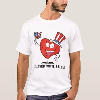 私のハートは赤い白く及び青出血させます Tシャツ