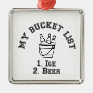 私のバケツのリストのユーモア-氷及びビール メタルオーナメント