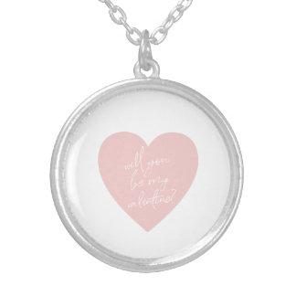 """""""私のバレンタインですか。""""ピンクのハートのネックレス シルバープレートネックレス"""