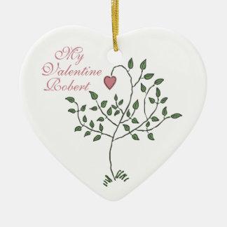 私のバレンタインの木のハートのオーナメント セラミックオーナメント
