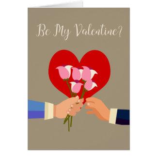 私のバレンタインの陽気なテーマのバラおよびハートがあって下さい グリーティングカード