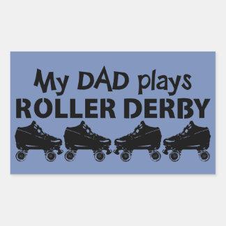 私のパパはローラーダービーのローラースケートで滑るを遊びます 長方形シール