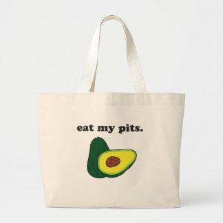 私のピットを食べて下さい。 (アボカド) ラージトートバッグ