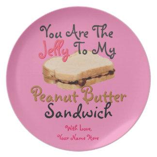 私のピーナッツバターサンドイッチ愛へゼリーです プレート