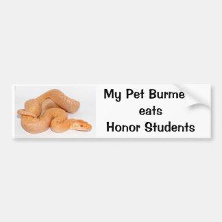 私のペットビルマ語は名誉学生のバンパーステッカーを食べます バンパーステッカー
